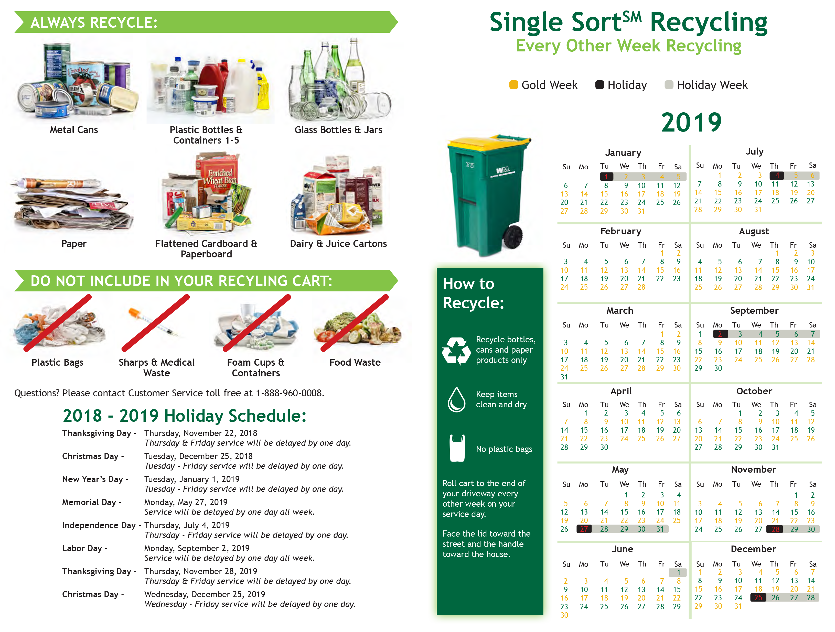 2019 Recycling Calendar